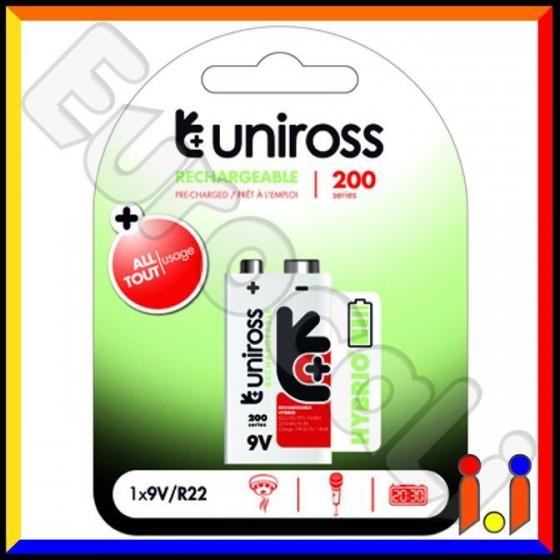 Uniross Hybrio Transistor Pila Ricaricabile 9V - Blister 1 Batteria