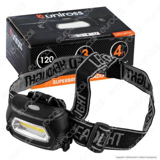 Uniross Torcia Frontale Headlight Ultra Luminosa 5 Modalità di Illuminazione