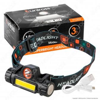Uniross Torcia Frontale Headlight 1W 3W Ultra Luminosa 2 Modalità di Illuminazione