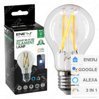 Ener-J Lampadina LED Smart Wi-Fi Filament E27 8.5W Dimmerabile - Bulb A60 - mod. SHA5298
