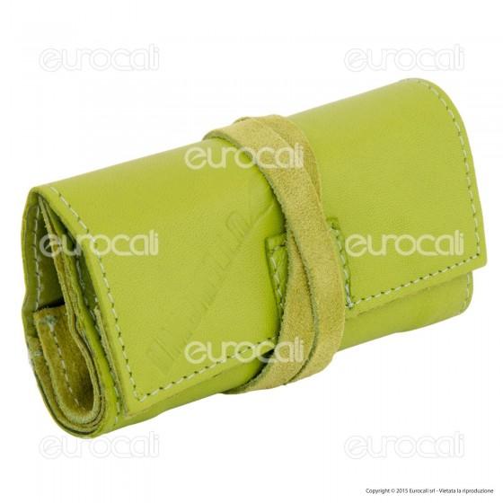 Il Morello Pocket Mini Portatabacco in Vera Pelle Colore Verde