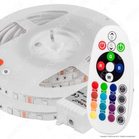 V-Tac VT-5050-300 Kit con Striscia LED 5050 4,8W 12V Multicolore RGB 10mt Controller e Alimentatore - SKU 2630