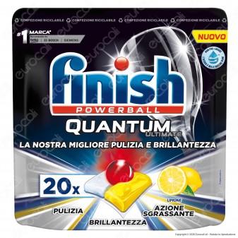 Finish Powerball Quantum Ultimate al Limone per Lavastoviglie - 20 Pastiglie