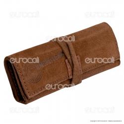 Il Morello Large Portatabacco in Vera Pelle Scamosciata Colore Marrone Chiaro