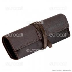 Il Morello Large Portatabacco in Vera Pelle Riciclata Colore Marrone Scuro