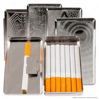 Champ Astuccio Porta Sigarette in Metallo con Decorazione Incisa