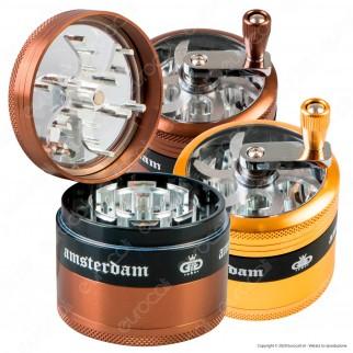 Grinder Tritatabacco 4 Parti in Metallo Chiusura Magnetica con Manovella Finestra Ispezione e Scritta Amsterdam