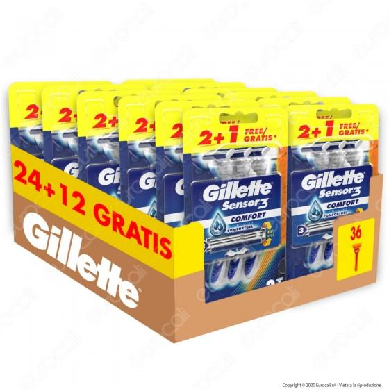 Gillette Rasoio Uomo Sensor3 Comfort Usa e Getta - Confezione da 36 Rasoi