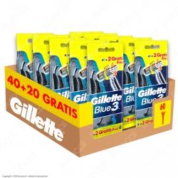 Gillette Rasoio Uomo Blue3 Usa e Getta - Confezione da 60 Rasoi