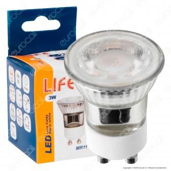Life Lampadina LED GU10 3W Faretto MR11 Spotlight 38° in Ceramica e Vetro - mod. 39.915016C