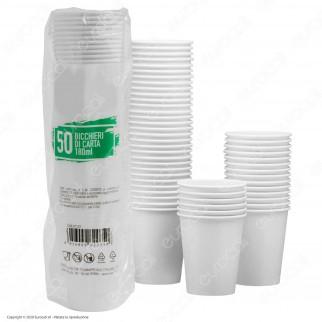 50 Bicchieri in Carta Biodegradabile Compostabile Colore Bianco per Bevande Calde e Fredde da 180ml