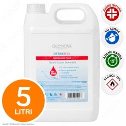 Glenova Dermogel Gel Alcool 75% Sanificante Igienizzante Mani Efficace Contro Germi e Batteri - Tanica da 5 Litri
