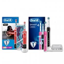 Kit Oral-B Spazzolini Elettrici Ricaricabili per la Famiglia Smart 4 4900 e Vitality Star Wars