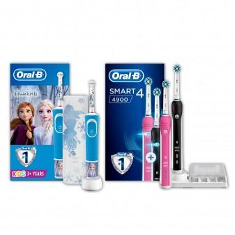 Kit Oral-B Spazzolini Elettrici Ricaricabili per la Famiglia Smart 4 4900 e Vitality Frozen 2