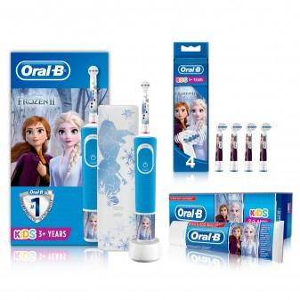 Kit Oral-B Spazzolino Elettrico Ricaricabile Vitality Frozen + 4 Testine di Ricambio Stages Power + Dentifricio