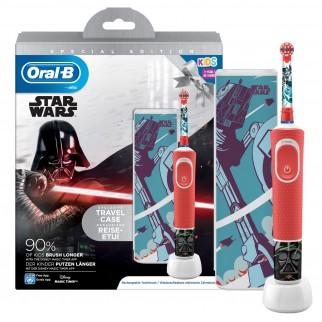Kit Oral-B Spazzolino Elettrico Ricaricabile Vitality Star Wars + 4 Testine di Ricambio Stages Power + Dentifricio