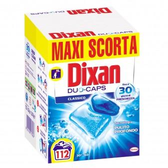 Dixan Duo Caps Classico Detersivo in Capsule per Lavatrice Maxi Scorta - Confezione da 112 Pastiglie