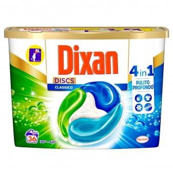 Dixan Discs Classico 4in1 Detersivo per Lavatrice - Confezione da 36 Capsule