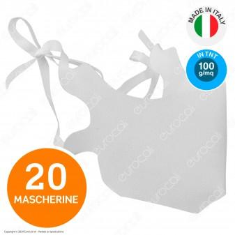 20 Mascherine Modello Chirurgico Filtranti Monouso in TNT 100% Polipropilene Bianco