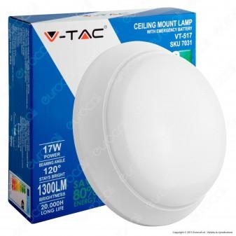 V-Tac VT-517 Plafoniera LED 17W con Kit Batterie di Emergenza Colore Bianco