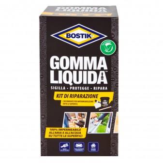 Bostik Kit di Riparazione Gomma Liquida Impermeabile Banda Rinforzante Pennello Spugna Abravisiva e Bastoncino