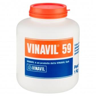 Vinavil 59 Adesivo Universale Colla Vinilica Media Viscosità Trasparente - Barattolo da 1Kg