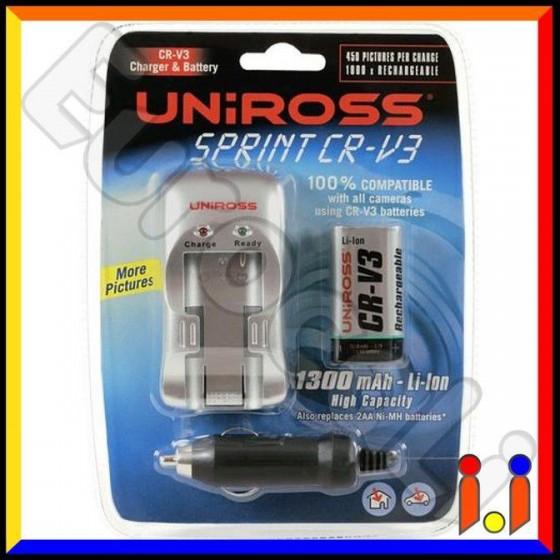 Uniross Caricabatterie CR-V3 + Batteria Ricaricabile CR-V3