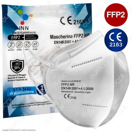 Mascherina Filtrante Multistrato Monouso con Fattore Classe di Protezione Certificato FFP2 NR in TNT Colore Bianco