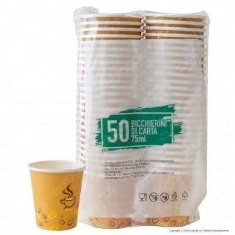 50 Bicchierini in Carta Biodegradabile Compostabile Colore Avana per Caffè Bevande Calde e Fredde da 75ml