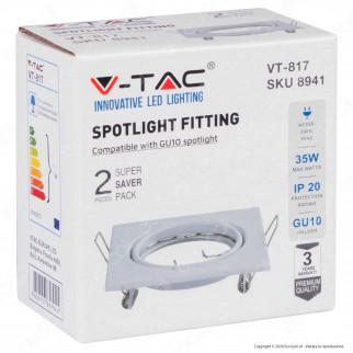 V-Tac VT-817 Portafaretto Orientabile Quadrato da Incasso per Lampadine GU10 Colore Bianco Super Saver Pack da 2 - SKU 8941