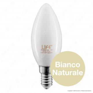Life Lampadina LED E14 Filament 4W Candela Vetro Bianco - mod. 39.920022CM / 39.920022CM3 / 39.920022NM / 39.920022FM