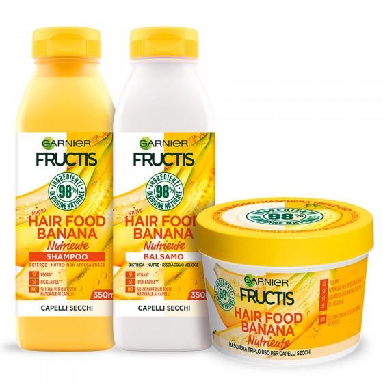 Garnier Fructis Kit Hair Food Banana Shampoo Balsamo e Maschera - Confezione da 3 Pezzi
