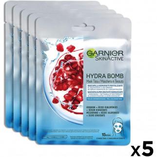 Garnier Skin Active Maschera in Tessuto Hydra Bomb Melograno - Confezione da 5 pezzi