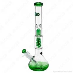 Bong Grace Glass Green Beaker G207G in Vetro Lavorato - Altezza 46 cm
