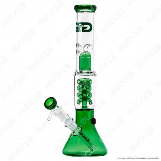 Bong Grace Glass Green Beaker G340G in Vetro Lavorato - Altezza 35 cm