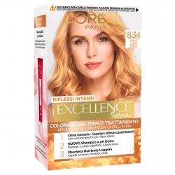 L'Oréal Paris Excellence Colorazione Permanente 8.34 Biondo Chiaro Dorato Ramato Triplo Trattamento