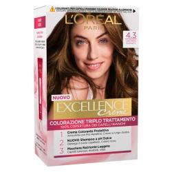 L'Oréal Paris Excellence Colorazione Permanente 4.3 Castano Dorato Triplo Trattamento