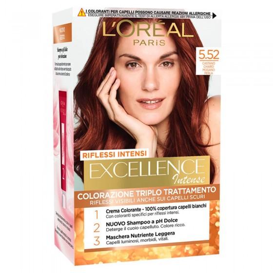 L'Oréal Paris Excellence Colorazione Permanente 5.52 Castano Chiaro Mogano Perla Triplo Trattamento Riflessi Intensi