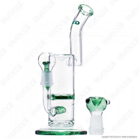 Bong Grace Glass Green Mini Saxo Bubbler G1627G in Vetro Lavorato - Altezza 25 cm