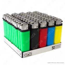 Ciao Accendino Colorato Tinta Unita Economico - Box da 50 Accendini