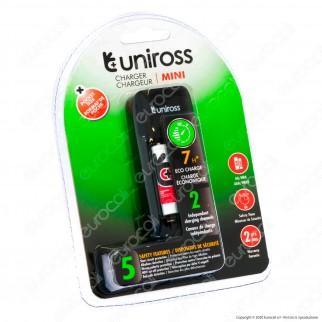 Uniross Caricabatterie Mini Hybrio AA / HR6 - AAA / HR03 con 2 Batterie AAA Ricaricabili e Cavo Micro USB