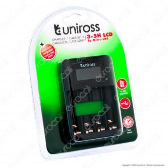 Uniross Caricabatterie Rapido per Batterie Ricaricabili AA / HR6 - AAA / HR03 e Cavo Micro USB