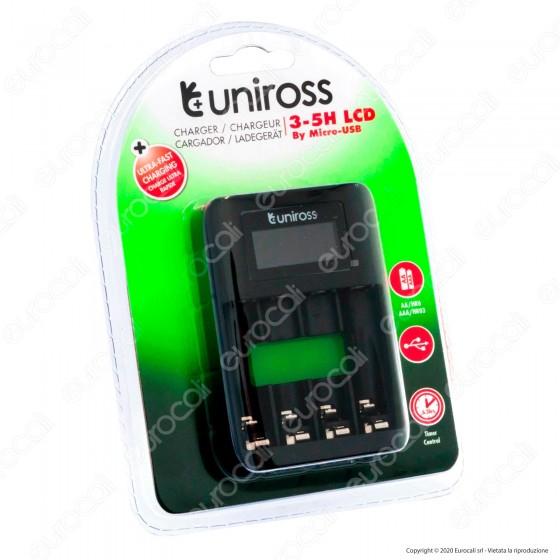 Uniross Caricabatterie Ultra Fast Rapido per Batterie Ricaricabili AA / HR6 - AAA / HR03 e Cavo Micro USB