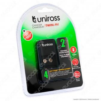 Uniross Caricabatterie Tascabile Twin-9V per 2 Batterie Ricaricabili 9V / PP3 e Cavo Micro USB