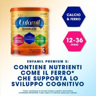 Enfamil Premium Complete 3 Alimento in Polvere a base di Latte per Bambini da 1a3 Anni - Barattolo da 800g