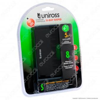 Uniross Caricabatterie Rapido per 8 Batterie Ricaricabili AA / HR6 - AAA / HR03 e Cavo Micro USB