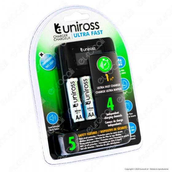 Uniross Caricabatterie Ultra Fast Rapido per AA / HR6 - AAA / HR03 con 4 Batterie AA 2700 Series e Cavo Micro USB