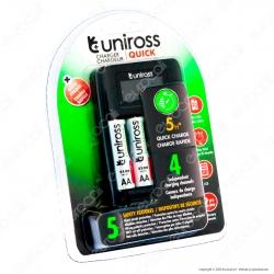 Uniross Caricabatterie Rapido per AA / HR6 - AAA / HR03 con 4 Batterie AA 2100 Series e Cavo Micro USB
