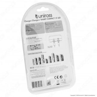 Uniross Caricabatterie Universale Rapido per 2 Batterie Ricaricabili NiMH / NiCD e Li-ion / IMR con Cavo Micro USB