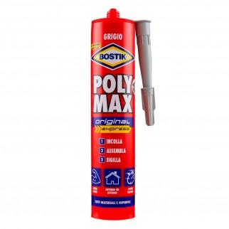 Bostik Poly Max Original Express Sigillante e Adesivo Super Rapido Grigio Cartuccia con Applicatore - Tubo da 425g